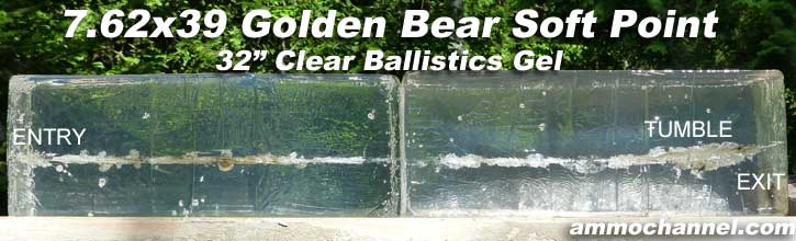 7.62x39-golden-bear-soft-point-ballistic-gel-expansion